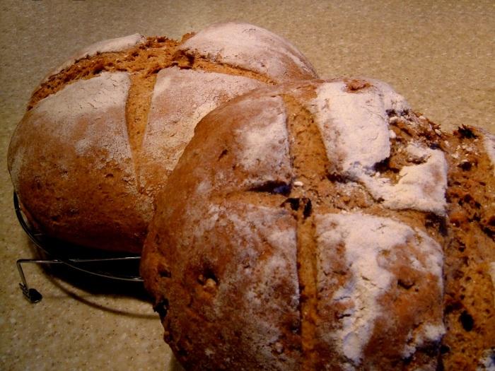Spelt Bread in front; Rye Bread behind