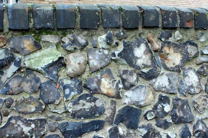 Flint wall in London garden