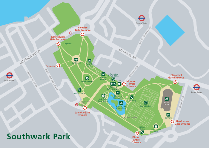 Map of Southwark Park (www.brainattack.net)