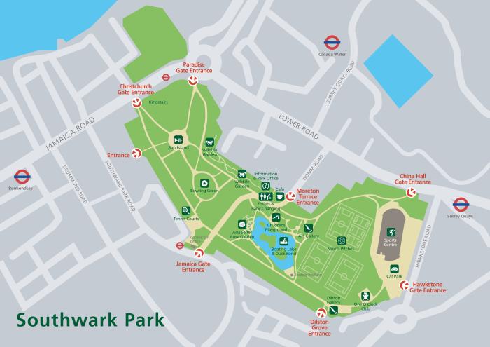 Map of Southwark Park (www.brainattack.net)