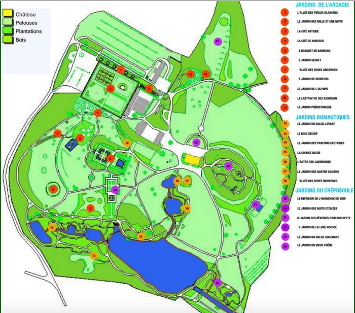 Parc Botanique de Haute Bretagne, plan