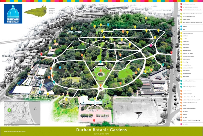 Durban Botanic Gardens Map (http://www.durbanbotanicgardens.org.za/places-and-spaces.html)