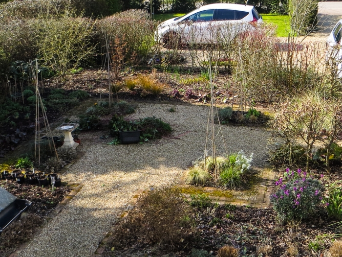 The front garden from the bedroom window