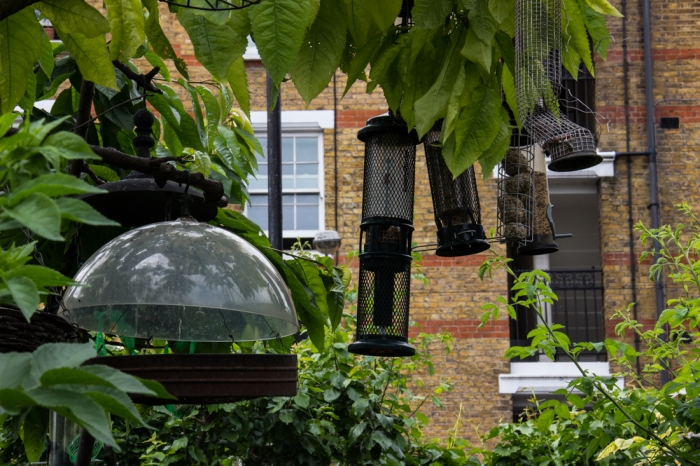 Bird feeders at Cable Street Gardens