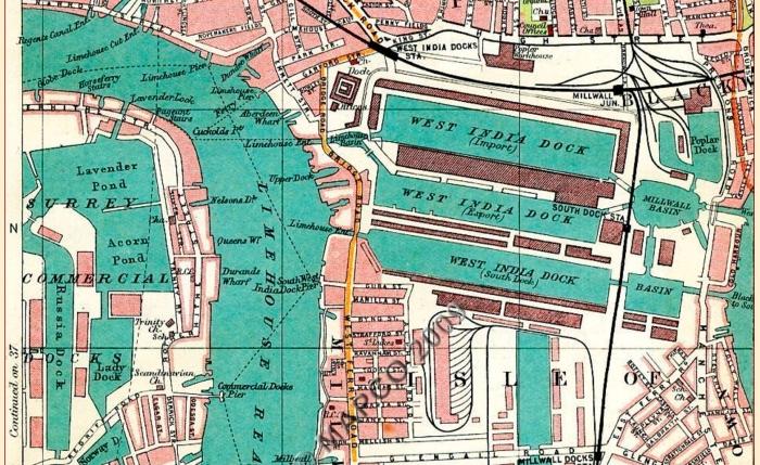 Surrey Commercial Docks, 1908 (www.mapco.net)