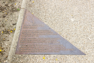 Plaque in the walk describing the importance of oak trees to the former shipbuilding industry in the area